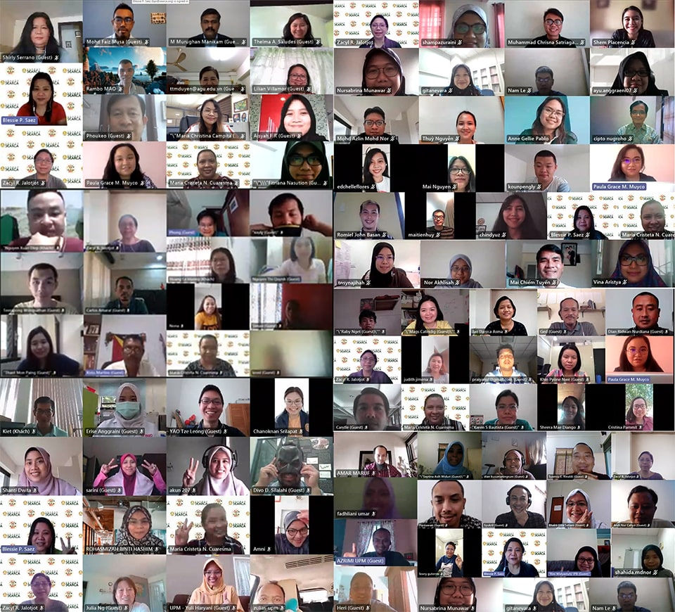 SEARCA scholars across all study posts together with scholars from joint projects during the virtual hangout.